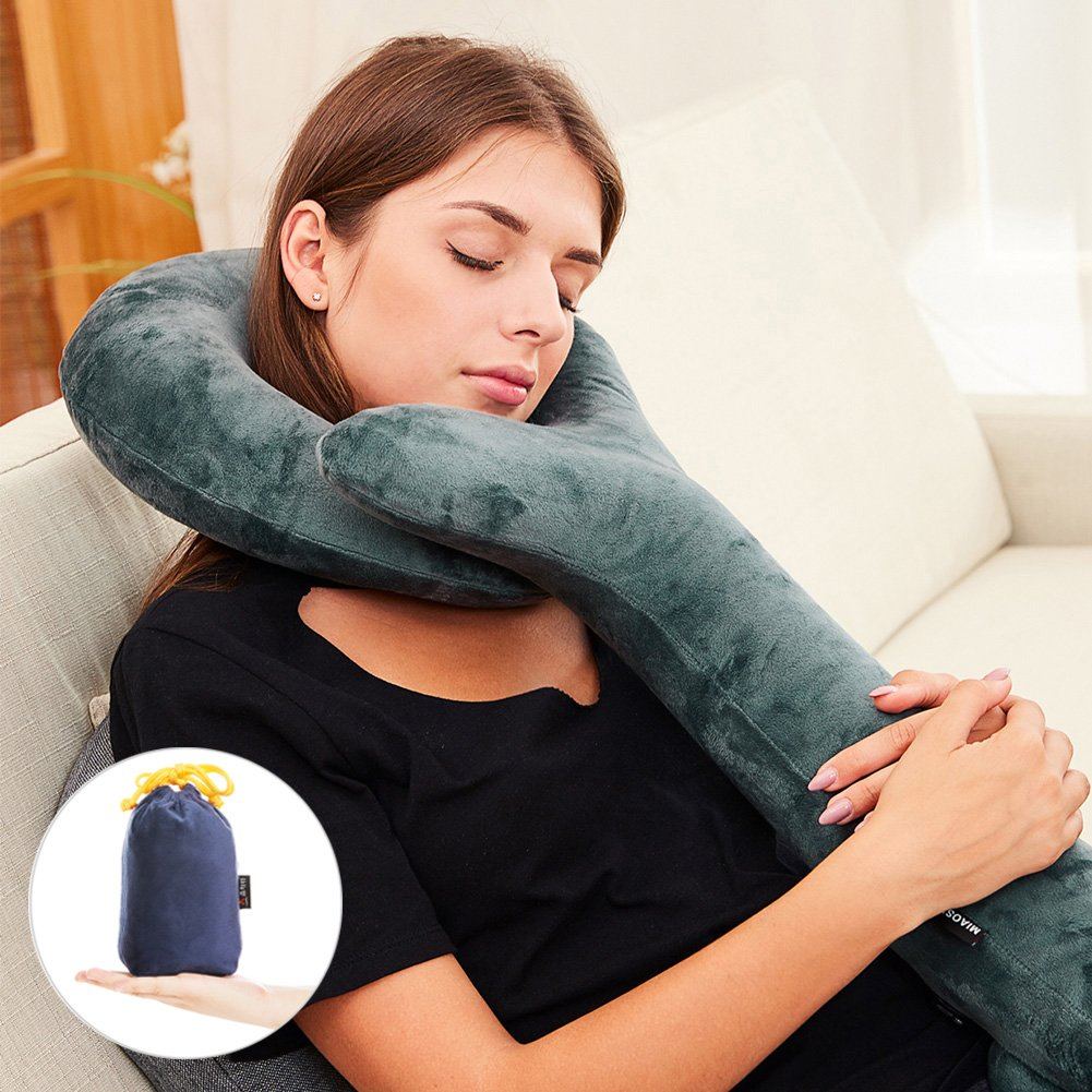 Inflatable Travel Pillow-Push-Button Inflatable Neck Pillow - Luxury Velvet Super Comfort and Support for the Head ,Neck, Chin-Travel Pillow(Machine-Washable)-by Sptlimes
