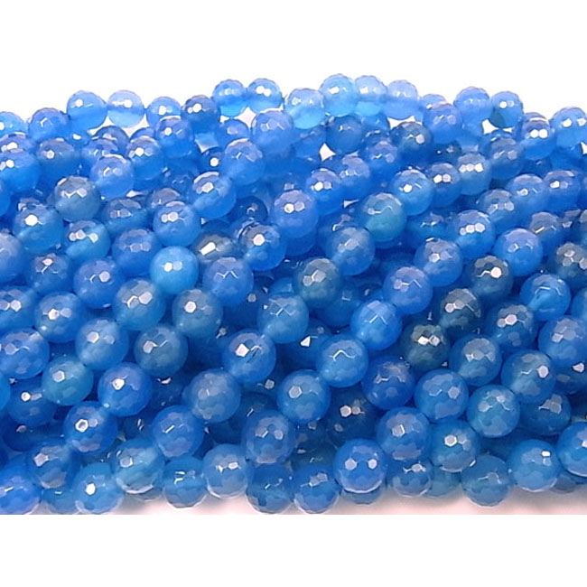 Made In China 10mm Dyed Facted Blue Agate Round Stone Beads