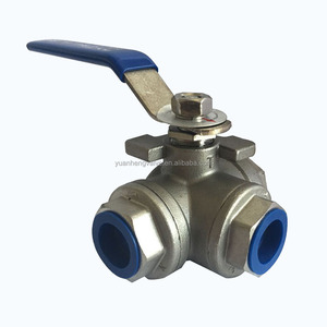 stainless steel 316 304 material 1000 PSI npt bsp bspt threaded 3 way ball valve