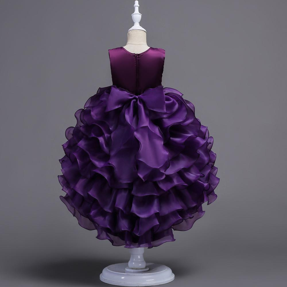 Children's dress skirt princess multi-layer cake pettiskirt upper body gilded embroidery trailing skirt girls dress, As the pic
