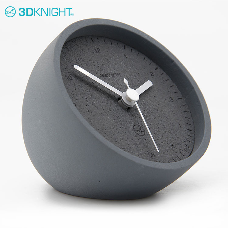 Natural Small Analog Desk And Cool Table Cement clock