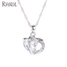 RAKOL Purple orange red pink green blue color 두 heart 석 crystal 펜 던 트 쇄 necklace N063