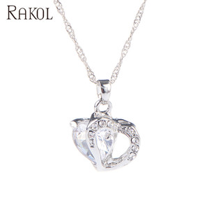 RAKOL Purple orange red pink green blue color two heart rhinestone crystal pendant chain necklace N063