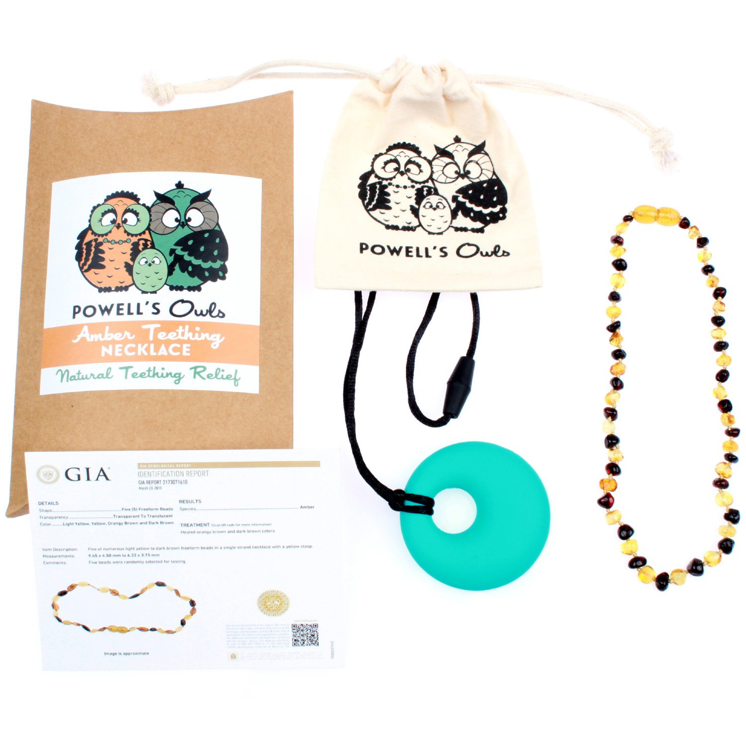 Baltic Amber Teething Necklace Gift Set + FREE Silicone Teething Pendant ($15 Value) Handcrafted, 100% USA Lab-Tested Authentic Amber - Teething Pain Relief (Unisex - Honey/Cherry Mix - 12.5 Inches)