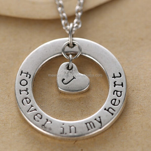 Personalized engraved forever in my heart metal necklace