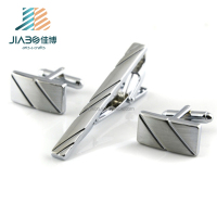 Silver Men Metal Stainless Steel Plain Skinny Custom Tie Clips and Cufflinks/Cuff Link