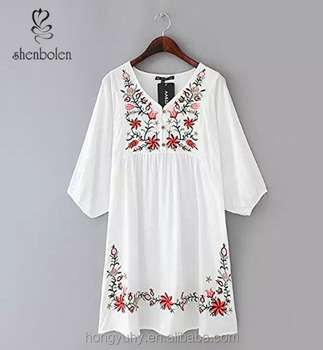 Hot Ing Mexican Cotton Dress With Scoop Embroidered Neckline In White Color M40637 Clothes