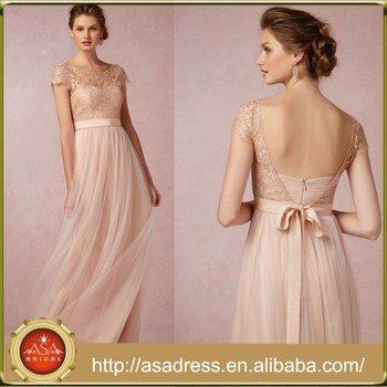 Bd57 Elegant Party Dress For Maid Of Honor With Sashes Low Back Lace Long Bridesmaid