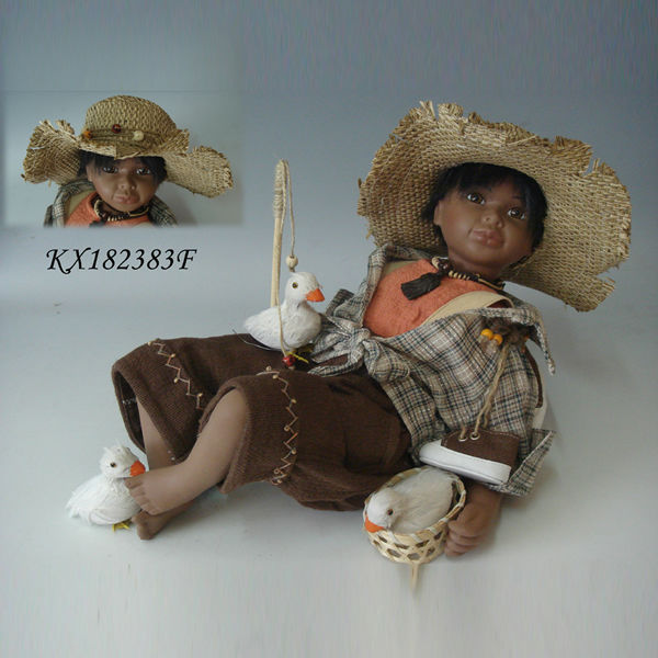 18inch Native American baby doll Girl long black hair handmade Indian porcelain baby doll New style