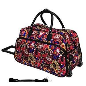 Polyester Material Floral Pattern 21-inch Blue Black Lightweight Duffel Bag