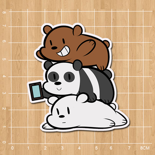 We Bare Bears Grizzly Panda Ice Bear Notebook refrigerator skateboard trolley case backpack book sticker PVC