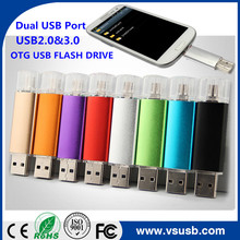 New Products Dual USB ports colorfull OTG USB Flash Drive 8GB,16GB,32GB,128GB USB Pendrive for mobile phone.