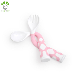 Curved Handle Plastic PP Children Toddler Flatware Set Bendable Baby Feeding Fork and Spoon Set for Kids Child with case
