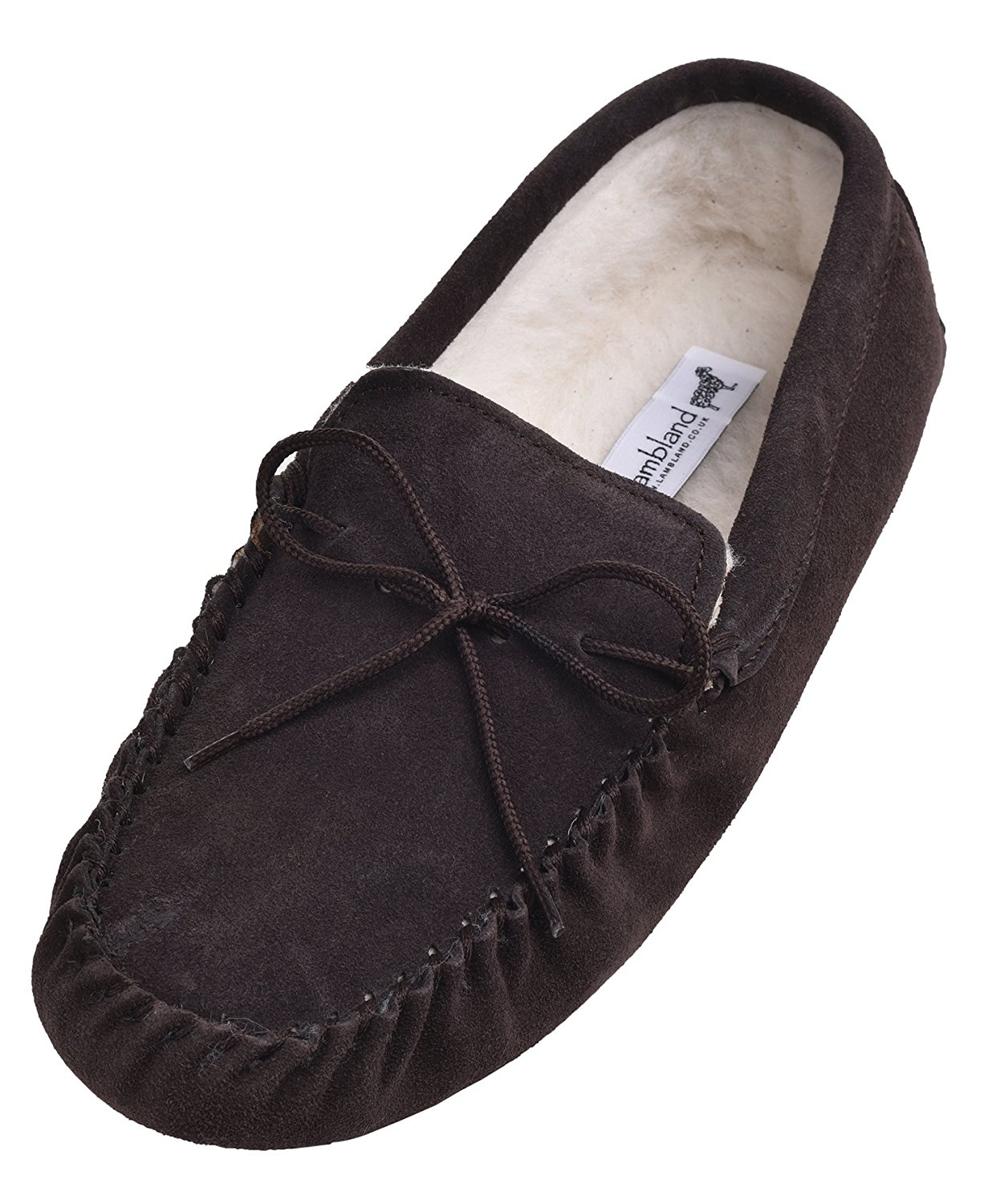 6941b912e Get Quotations · LAMBLAND Mens Genuine Suede Sheepskin Moccasins Slippers  With Soft Suede Sole