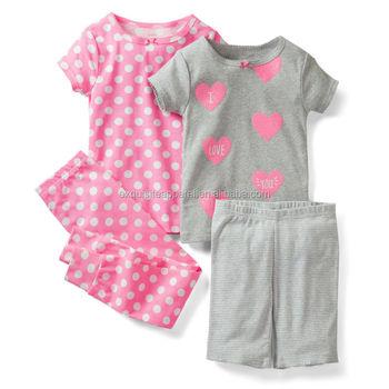 7f60d61a0eec Children girls summer short pajama sets   Kid girls printed t shirt summer  pajama sets