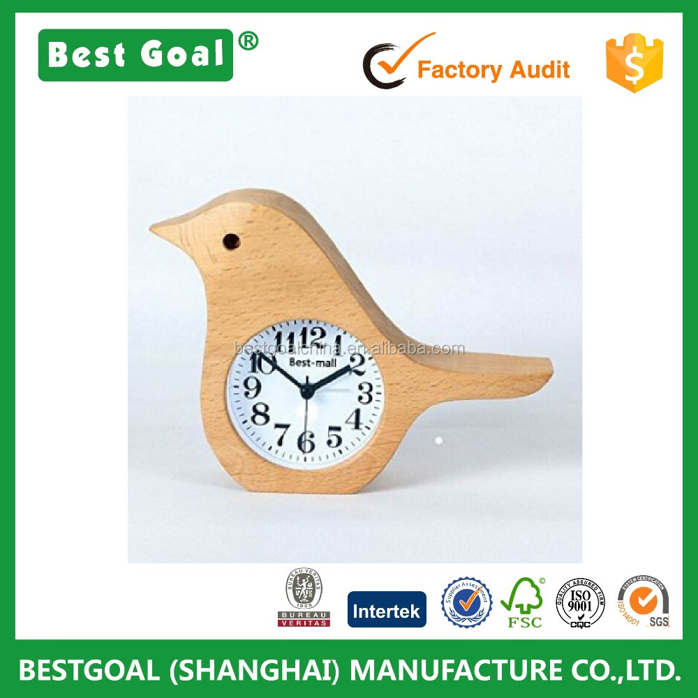 Desk clock Bird Style Non-Ticking Silent Handmade Wood alarm Desk Clock