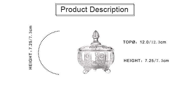 High Quality Decorative Glass Storage Jar Candy Sugar Box Glass Candy Jar for Storage with Lid