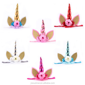Cute Handmade Unicorn Horn Floral Design Baby Elastic Headband Kids Girl  Cheap Party Princess Headbands - Buy Girls Princess Tiara Headband 655c541c323