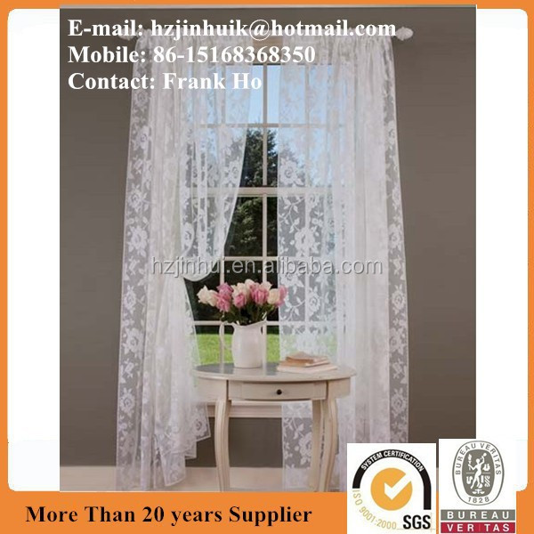 White window curtain for bedroom luxury hotel curtains curtain Lace Rod Pocket Panel