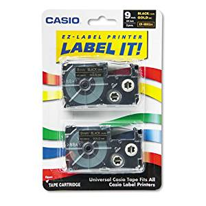 Casio® - Tape Cassettes for KL Label Makers, 9mm x 26ft, Gold on Black, 2/Pack - Sold As 1 Pack - The easy way to label!