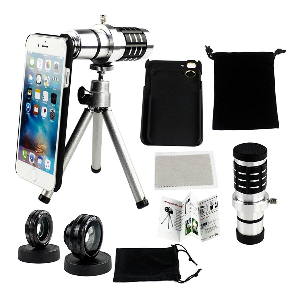 Phifo Camera Lens Kit for iPhone 6/6s & iPhone 6/6s Plus - 12x Telephoto Lens+Fish Eye+Macro & Wide Angle Lens, 1 Mini Tripod and 1 Microfiber, etc