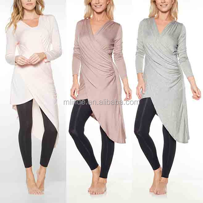 Arabic Tunics Heather Gray Asymmetrical-Hem Surplice Women Tunic Tops Long Sleeve Latest Tunic Tops Designs