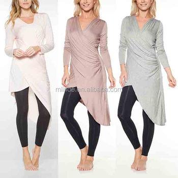 6328848ac83 Arabic Tunics Heather Gray Asymmetrical-Hem Surplice Women Tunic Tops Long  Sleeve Latest Tunic Tops