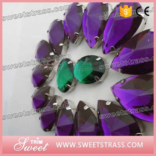 Sew on Stone Acrylic Rhinestone Flat back Tear Drop 17x28mm Green Blue red pink colorful AB Color for dresses