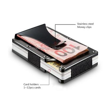 wedacrafts newest model rfid aluminum blocking credit card holder with money clips 2018 - Money Clip Credit Card Holder