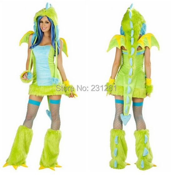 get quotations high quality leather fur women dress grass green sexy dinosaur cosplay good looking girl halloween animal