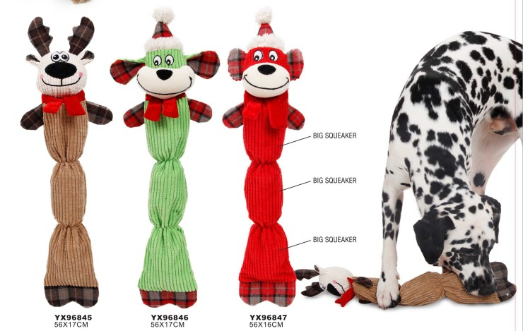 Soft pet products squeaky plush chew dog toy