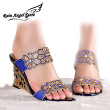 2015 Women Summer Wedges Sandals Black Sexy High Heel Shoes Leather Sandals And Slippers Female  Bridal Shoes