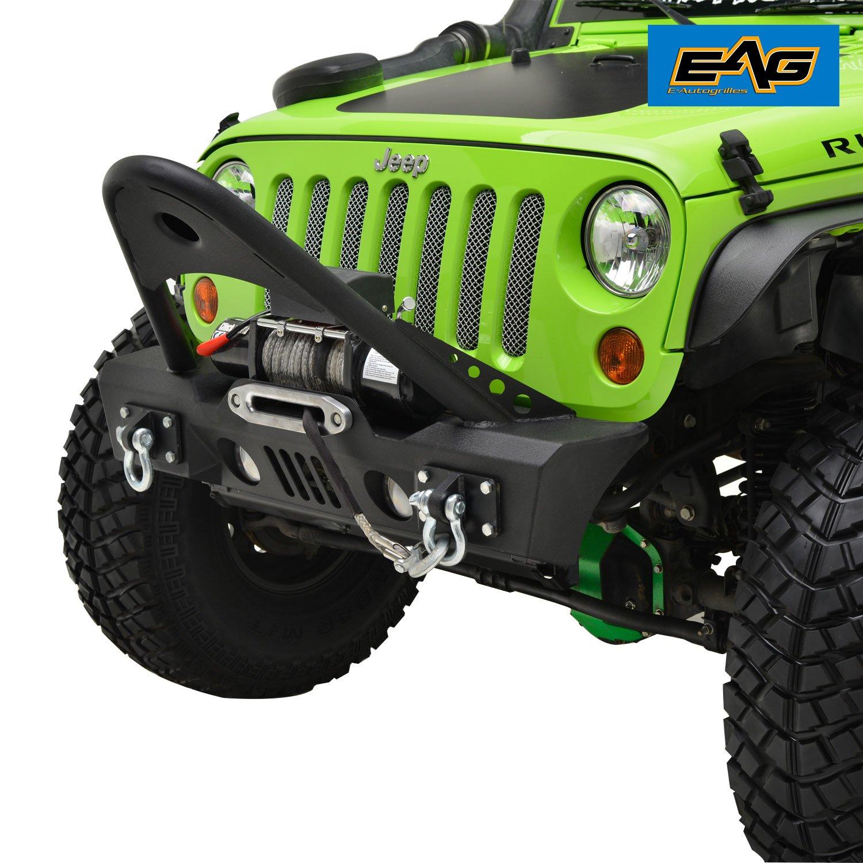 5530584638 EAG JK Stubby Front Bumper With Stinger - OE Fog Light Housing Jeep Wrangler  07-