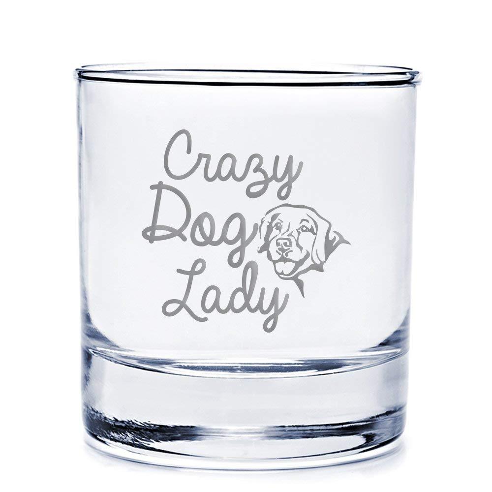 Crazy Dog Lady Golden Retriever Engraved 10-ounce Rocks Glass
