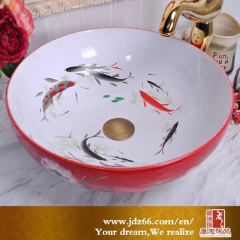Hot Sale Chinese Traditional Fish Painting Jingdezhen Porcelain Bathroom  Ceramic Sink