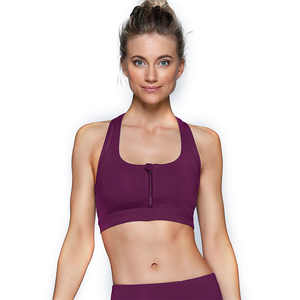 Hot Sales Women Dry Fit Padded Yoga Bra Top Plain Front Zip Supportive Various Brand Sport Bra