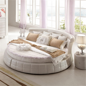 modern king size cheap bedroom leather round rotating bed frame on sale for adults