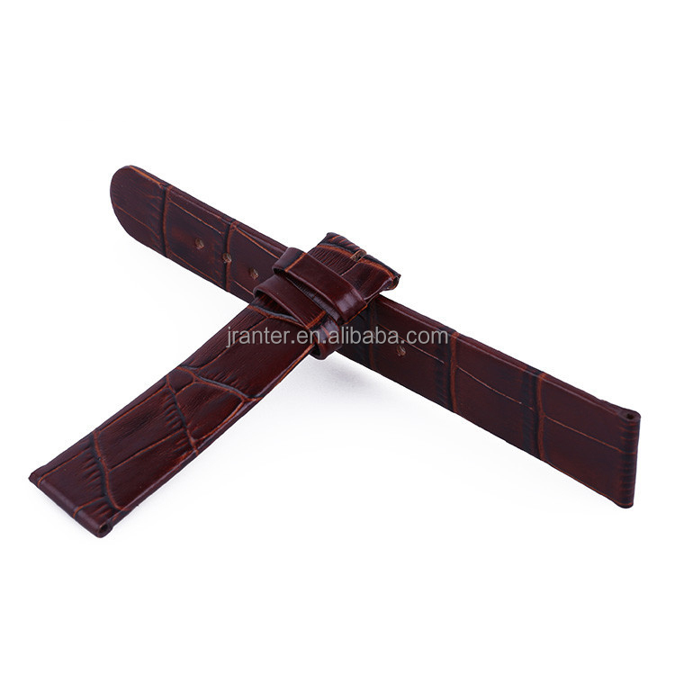 Factory Wholesale Crocodile Grain Genuine Leather Watch Strap for Men