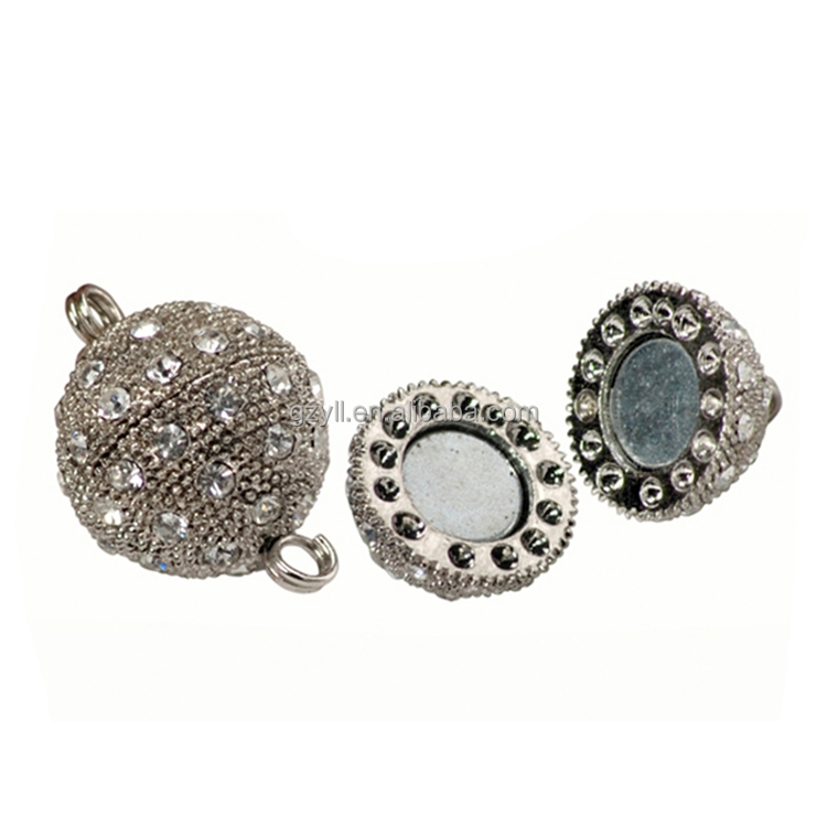 Rhinestone princess pendant whited gold plated spherical jewelry clasp china supplier wholesale