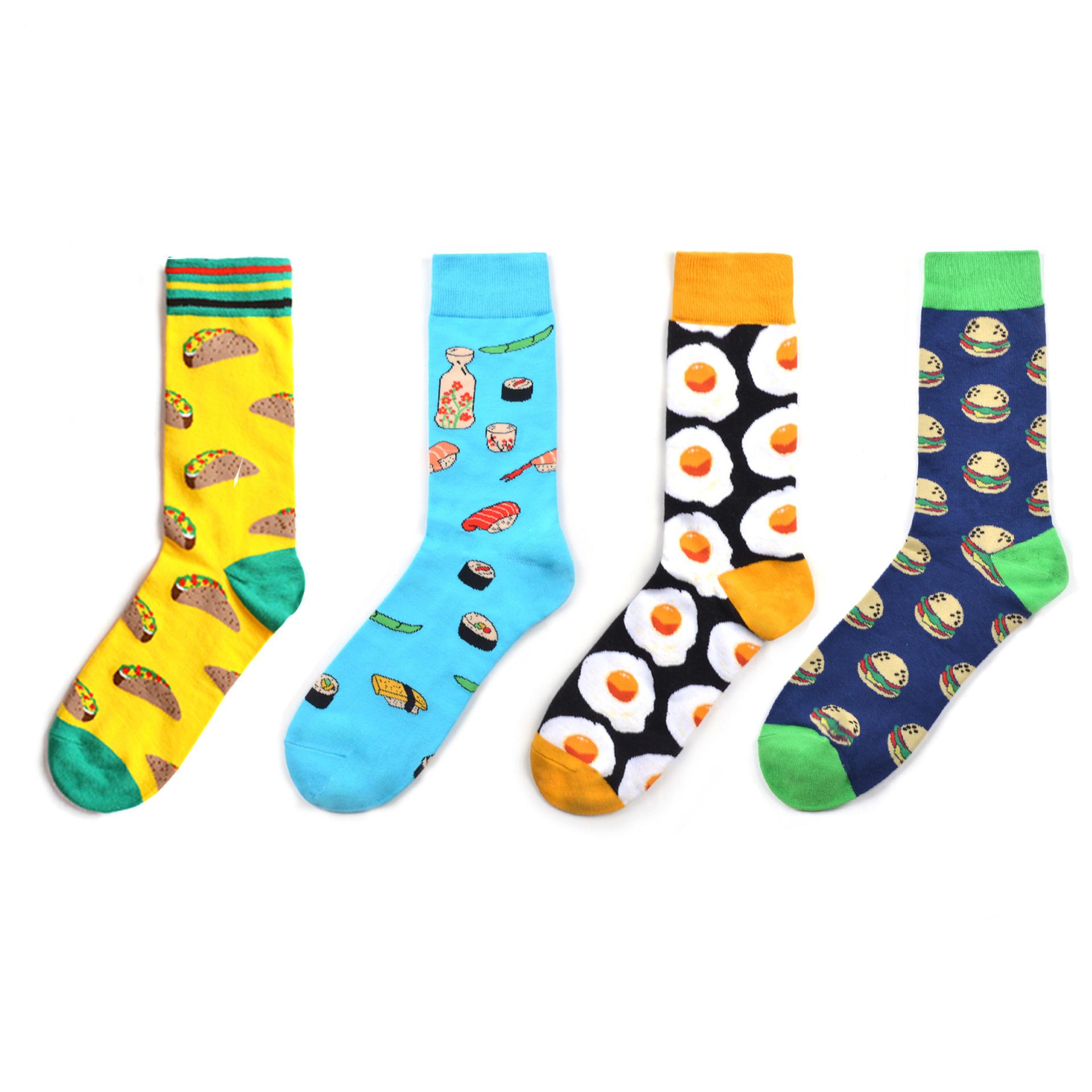 Latest various colorful designs unisex happy socks food socks wholesale фото