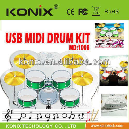 Flexible Silicone and Portable view usb Midi Roll Up Drum Kit with Cool Gadget best gift for Children's Day