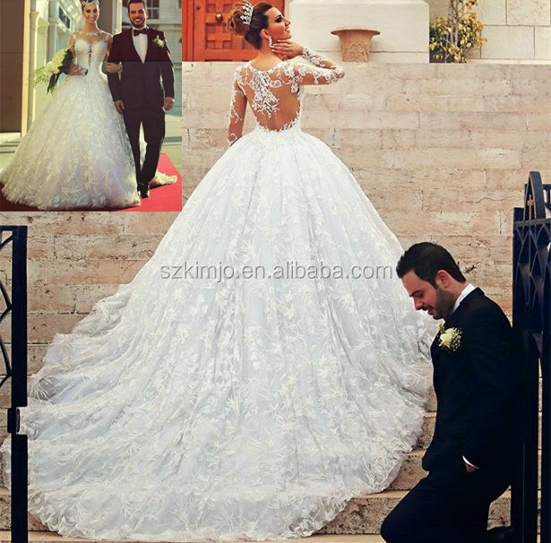 Saudi Arabic Wedding Ball Gown Lace Applique Long Sleeve Elegant Wedding  Dresses 2018 2339c34ffb2b