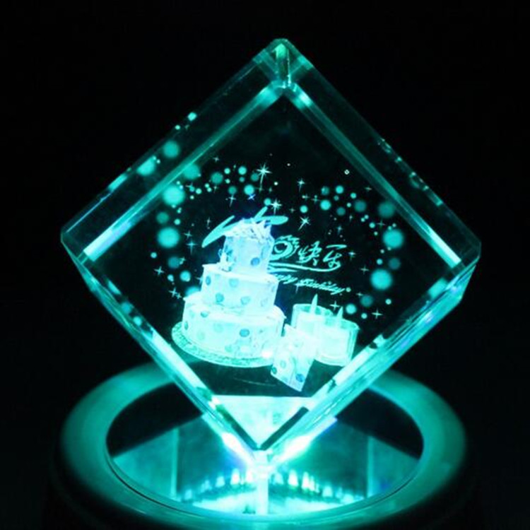 3d Cake Crystal Cube laser with customized logo engraved for birthday gift