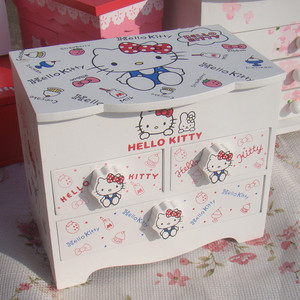 white color hello kitty storage wooden gift jewelry box