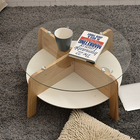 Modern Solid Wood with MDF round Glass Coffee Table