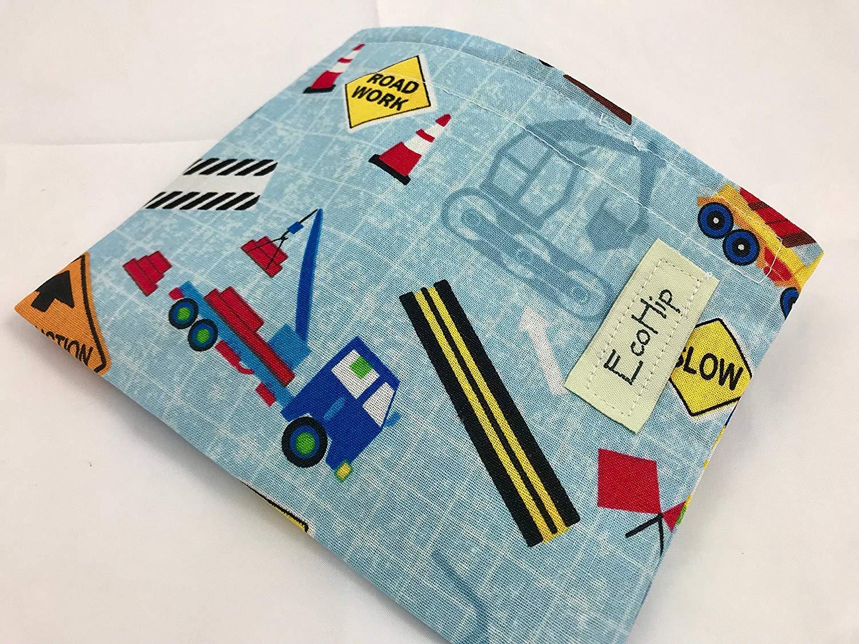 Reusable Snack Bag Eco-Friendly - Construction Cars Blue