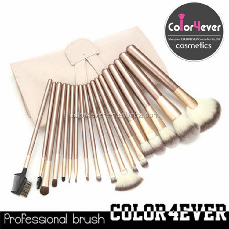 High quality wholesale professional 18pcs leather pouch makeup brushes tools sets