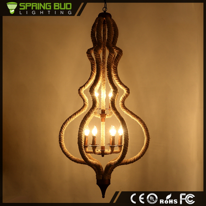 New design Loft E27 restaurant India TDP shaped vintage pendant lamp with hemp rope
