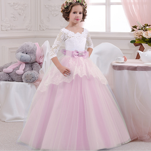 Lovely Baby Long-sleeved Princess Party Dress Fall And Winter Flower Pink Girls Party Dress For 3-12years Girls L-51CX