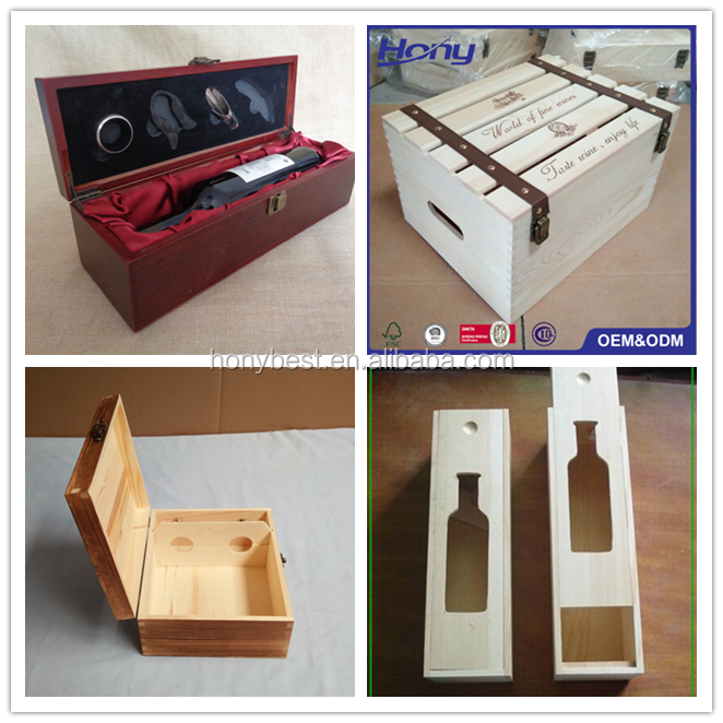 Unfinished Paulownia Wood Single Wine Glass Bottle Boxes with Hinged Lid and Clasp